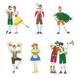 Set of men and women at Octoberfest. Characters in national costumes. Vector flat illustration for restaurant or bar Stock Photography