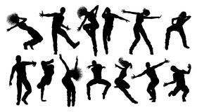Street Dance Dancer Silhouettes. A set of men and women street dance hip hop dancers in silhouette Royalty Free Stock Photography