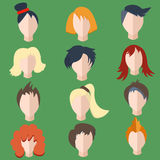 Set  men, women wigs Royalty Free Stock Photography