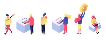 People interact with data isometric set royalty free illustration
