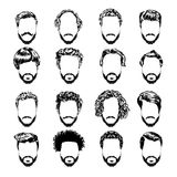 Set of men's hairstyles, beards and mustache. Hand-drawn sketch. Vector Illustration. Royalty Free Stock Photos