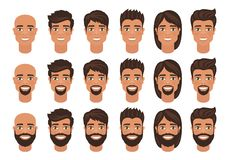 Set of mens avatars with various hairstyle: long or short hair, bald, with beard or without. Cartoon portraits isolated on white background. Flat style. Vector stock illustration