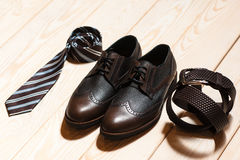 Set of mens classic style accessory stock image