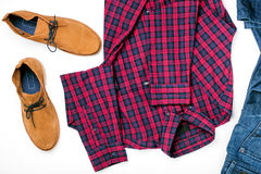 Set mens clothes collage with shirt, jeans and shoes Royalty Free Stock Photos