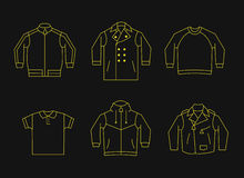 Set of mens clothes. Thin line design Royalty Free Stock Photos