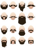 Set of mens faces with beards and mustaches Royalty Free Stock Photo