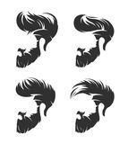 Set of mens hairstyle with beard mustache Royalty Free Stock Photo