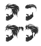 Set of mens hairstyle with beard mustache Royalty Free Stock Images