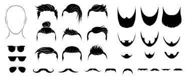 Set of mens hairstyles, beards, mustaches and glasses stock illustration
