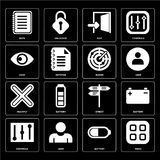 Set of Menu, Battery, Controls, Street, Multiply, Radar, View, E. Set Of 16 icons such as Menu, Battery, User, Controls, Note, View, Multiply, Radar, web UI Vector Illustration