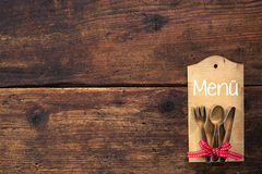 Set menu card. For restaurants on wooden background Royalty Free Stock Photography