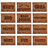 Set of menu entries Stock Image