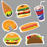 Set menu for fast food restaurants and fast food Stock Images