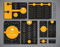 Set A4 menu, folding brochures and flyers narrow for a restauran Stock Images