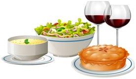 Set menu with food and wine. Illustration royalty free illustration