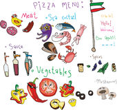 Set menu for pizza. And a beautiful girl and the Italian flag constituents of different ingredients - seafood mix, meat, vegetables, mushrooms, sauces and Stock Photos