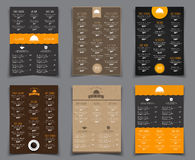 Set A4 menu for restaurants and cafes. Templates flyers black, b Stock Photography