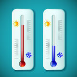 Set mercury thermometers. Heat and cold. Stock  illustrati. On Royalty Free Stock Photo