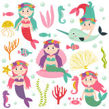 Set of  mermaid with marine animals and plants Stock Photo