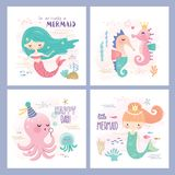 Set of under the sea cartoon design. Set of mermaid and marine life greeting cards design Royalty Free Stock Photos