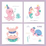 Set of mermaid and marine life greeting cards design. Set of under the sea greeting cards design with octopus, seahorse, crab and turtle Royalty Free Stock Photos