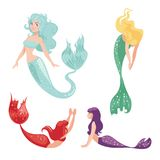Set of mermaids  on white background. Fantasy sea sirens in cartoon style. Vector illustration Royalty Free Stock Images