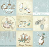 Set of Merry Christmas backgrounds. And decorative elements Stock Images