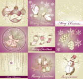 Set of Merry Christmas backgrounds. And decorative elements Royalty Free Stock Image
