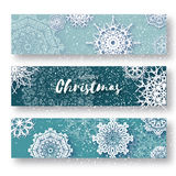 Set of 3 Merry Christmas banner with origami white snowflake. Merry Christmas banner with origami white snowflake. Festive Xmas and New Year collection on blue Royalty Free Stock Images