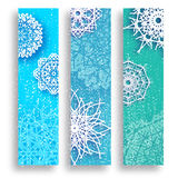 Set of 3 Merry Christmas banner with origami white snowflake. Merry Christmas banner with origami white snowflake. Festive Xmas and New Year collection on blue Royalty Free Stock Photos