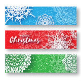 Set of 3 Merry Christmas banner with origami white snowflake. Merry Christmas banner with origami white snowflake. Festive Xmas and New Year collection on Royalty Free Stock Photo