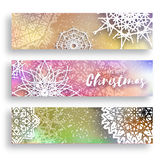 Set of 3 Merry Christmas banner with origami white snowflake. Merry Christmas banner with origami white snowflake. Festive Xmas and New Year collection on Stock Images