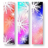 Set of 3 Merry Christmas banner with origami white snowflake. Merry Christmas banner with origami white snowflake. Festive Xmas and New Year collection on Stock Photo