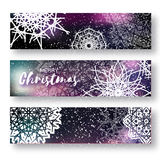 Set of 3 Merry Christmas banner with origami white snowflake. Merry Christmas banner with origami white snowflake. Festive Xmas and New Year collection on dark Royalty Free Stock Image