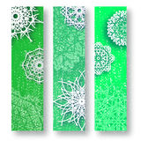Set of 3 Merry Christmas banner with origami white snowflake. Merry Christmas banner with origami white snowflake. Festive Xmas and New Year collection on green Stock Photography