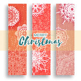 Set of 3 Merry Christmas banner with origami white snowflake. Merry Christmas banner with origami white snowflake. Festive Xmas and New Year collection on red Royalty Free Stock Images
