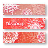 Set of 3 Merry Christmas banner with origami white snowflake. Merry Christmas banner with origami white snowflake. Festive Xmas and New Year collection on red Stock Images