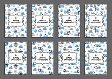 Set of merry christmas card templates with arctic animals Royalty Free Stock Photo