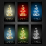 Set of 6 Merry Christmas cards. Royalty Free Stock Photo