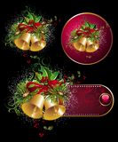 Set of Merry Christmas design elements. Bell christmas tree floral holiday winter holly Stock Illustration