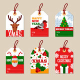 Set of Merry Christmas Flat Gift Tags Stock Photography