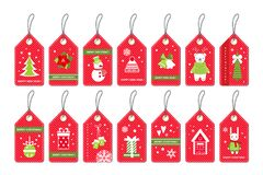 Set of Merry Christmas gift red tags with party items .   Royalty Free Stock Photo