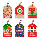 Set of Merry Christmas Gift Tags. Flat Design Royalty Free Stock Photography