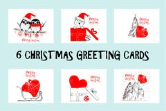 Set of Merry Christmas greeting cards hand drawn with black and red ink pens for loving holidays. Vector Illustration isolated on white Stock Photo