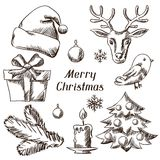 Set of Merry Christmas hand drawn icons and Stock Image