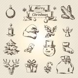 Set of Merry Christmas hand drawn icons and Stock Images