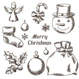 Set of Merry Christmas hand drawn icons and Royalty Free Stock Image