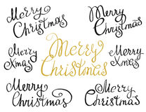 Set of Merry Christmas handmade lettering. Inscriptions. Design elements  on white background. Hand written lettering design for congratulation cards, banners Stock Photography