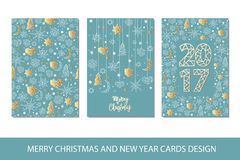 Set of Merry Christmas and Happy New Year card template in geometric style. Holiday composition with star, heart, moon, ball, noel. Greeting card, invitation Royalty Free Stock Photography