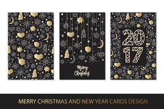 Set of Merry Christmas and Happy New Year card template in geometric style. Holiday composition with star, heart, moon, ball, noel. Greeting card, invitation Royalty Free Stock Image